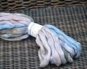 Cotton Roving for spinning, Hand Painted, combed, lofty, spinning fibers, knitting, Denim lilac