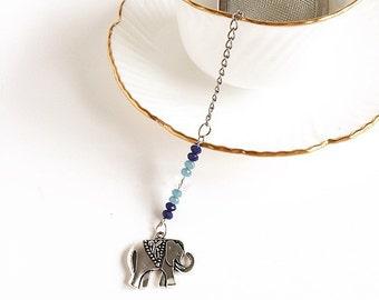 Tea Infuser Elephant Forget Me Not  Blue Clear Beads Tea Ball