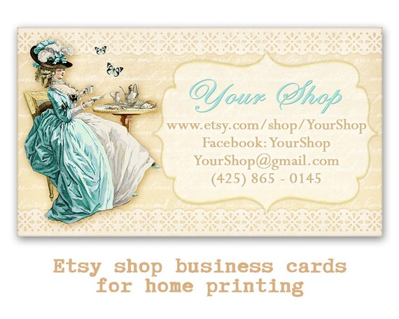 Vintage French Business cards Etsy shop cards Printable