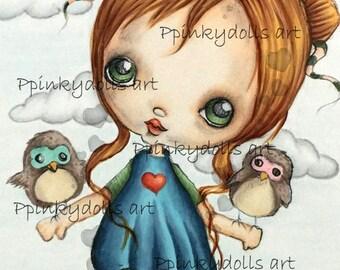 INSTANT DOWNLOAD Digital Digi Stamps..by Chrishanthi's art,Two owls'