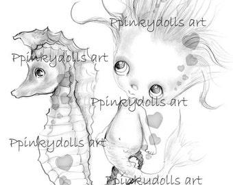 INSTANT DOWNLOAD Digital Digi Stamps..by Chrishanthi's art,Hippocampus '.