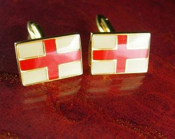 English wedding Cuff links red cross flag vintage gold Cufflinks Yeomen Warders England Palace cuff links