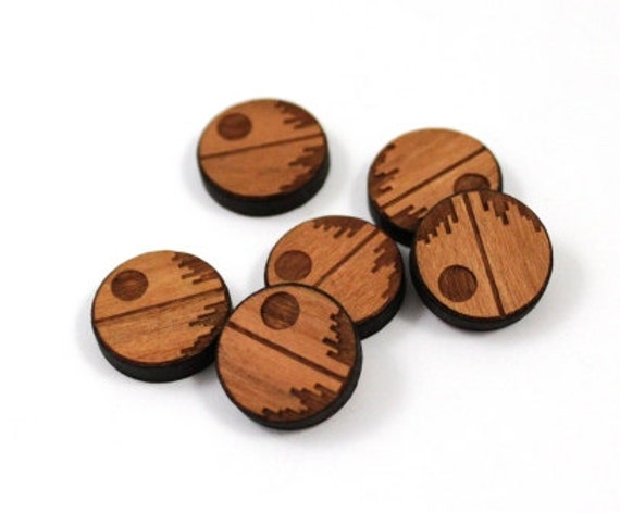 Laser Cut Supplies-8 Pieces.Death Star Charms - Laser Cut Wood Death Star -Brooch Supplies- Little Laser Lab Sustainable Wood Products