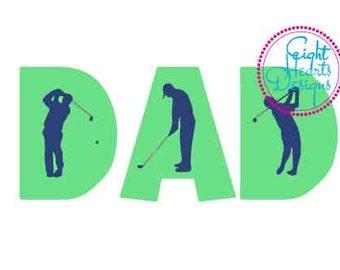 Dad 3-Design Pack - Golf Dad Fishing Dad Protective Dad Daughter svg or studio file for Vinyl Digital Canvas on a Tshirt Tile or Artboard