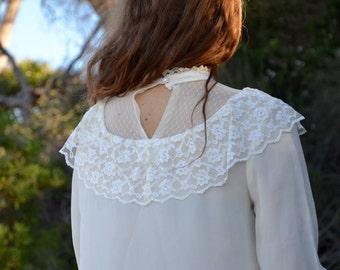 Romantic lace frill blouse white vintage lady prairie office top