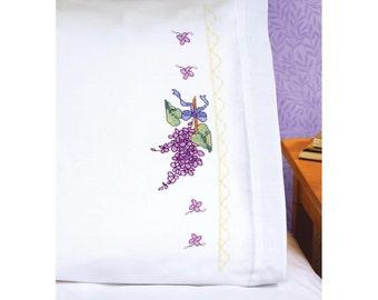"Lilacs Stamped Cross Stitch Pillowcase Pair 20""X30"""