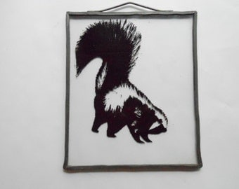Vintage Skunk Silhouette on Glass Reverse Painted Fun Animal Art Lead Handcrafted Hangable Frame Unique Window Decor