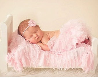 Baby Pink 1 Inch Ruffle Layering Piece for Newborn Photo Shoot, 12 Colors, Infant Wrap, Newborn Wrap, Infant Photo Prop, Newborn Photo Prop