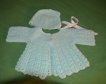 ON SALE!!!  Vintage Handmade Baby Sweater and Hat in Pale Green