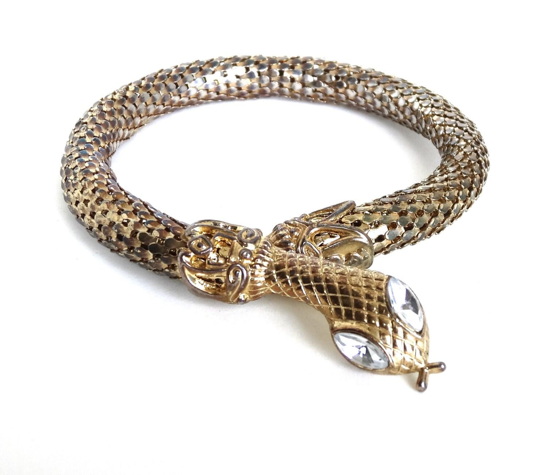 vintage snake bracelet arm cuff gold mesh coil w clear