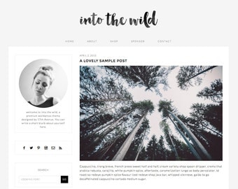"Wordpress Theme Premade Blog Template Design - ""Into the Wild"" Instant Digital Download"