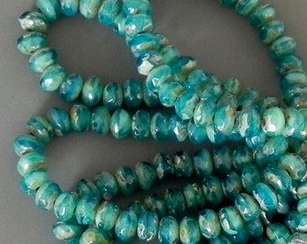 Teal Picasso Rondelle Beads - Czech Glass Rondell - 30 beads - 1292- 5x3mm