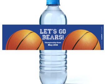 Basketball Water Bottle Labels - Personalized Water Labels - Birthday Water Labels - Birthday Favors - (24 qty)