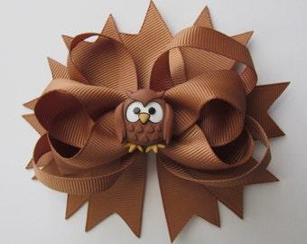 Hair Bow Owl Brown