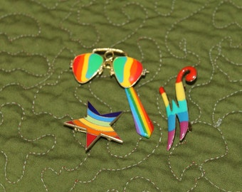 Rainbow Brooches Lot   Pince Nez Eyeglasses, Star, and  W or M Initial, LGBT jewelry