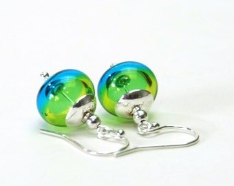Lime Green and Teal Lampwork Earrings - Aqua and Lime Hollow Lampwork Glass Earrings