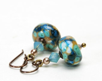 Aqua and Sand Lampwork Glass Earrings - Antique Brass Earwires