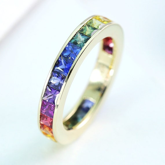 LGBT Pride Eternity Ring Wedding Band 14K Yellow Gold Unisex Unique
