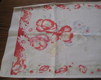 sale Floral runner, table runner, dresser runner, red poppies, blue cornflowers, thick cotton runner