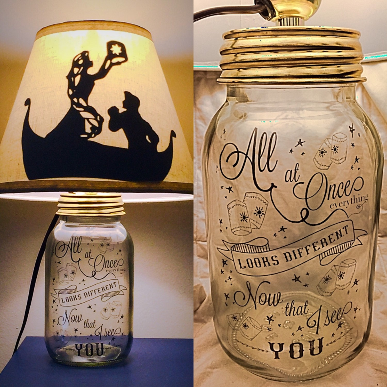 Disney rapunzel boat silhouette rapunzel mason jar character lamp by