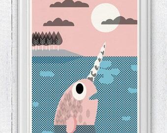 Nursery wall Art Print - Narwal - Sea animal illustration wall decor - Nursery room modern  decoration SPNR01