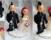 Customized Bride & Groom Guitar Player Rockabilly Wedding Cake Topper