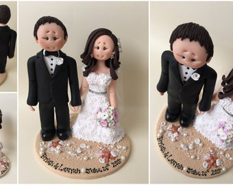 Personalised bride and groom Beach Wedding Cake Topper - Destination wedding beach theme base with sand, seashells, starfish and pearls!