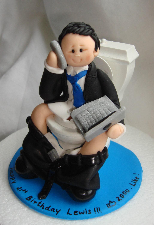 Internet Addict Funny Birthday Cake Topper Man Boy Glued To
