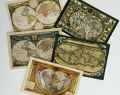 5 Antique World Map Postcards - lot set of 5