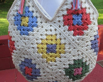 Crocheted Cotton Granny Square Bag / Purse / Tote / Lined / Multicolored / Cream / Ivory / Ecru