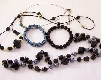 Destash, Bulk Vintage Jewellery, Broken Jewellery, Jewelley Parts, Craft Parts, Black and White,