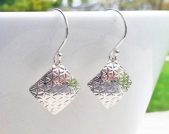 Small Sterling Silver Patterned Dangle Earrings, 925 Silver Textured Earrings, Lightweight Square Diamond Shaped Drops, Geometric Pattern