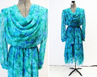 Plus Size - Vintage Turquoise Floral Chiffon Drape Front Dress (Size 12)