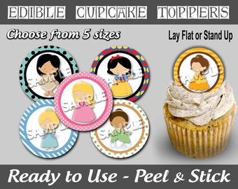 PreCut Edible Icing Image Mini Standard Cupcake Cookie Lollipop Toppers Princess Aurora Cindy Tiana Snow Belle Pocahontas Inspired (NW1043)