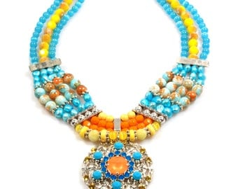 Statement necklace colored in blue turquoise, yellow and orange with Swarovski - multi strand, bohemian style handmade summer jewelry