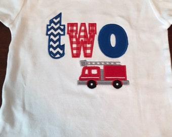 Firetruck Birthday Shirt- Fireman Birthday- Boy Birthday Shirt