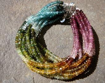 Tourmaline, Gemstone Bracelet, Tourmaline Cuff Bracelet, Gemstones Bracelet, Tourmaline Multi Strand Bracelet, Rainbow Tourmaline