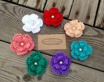 Crochet Pearl Hair Flower