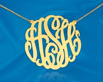Monogram Necklace - 1.5 inch Sterling Silver 24K Gold Plated Handcrafted Monogram Initial Necklace - Made in USA