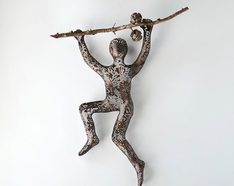 Climbing man sculpture on a tree branch, rustic wall decor, contemporary art, Metal art, interior design, decorative art