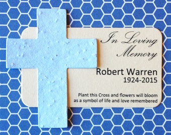 "16 Cross Memorial Plantable Seeded Paper Shape Mini Favors 2"" x 3.5"" Cards, 39 Colors Available"