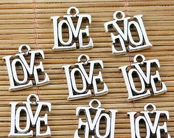 40pcs tibetan silver tone LOVE charms EF1545