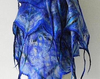 felted scarf shawl SKY with dreads, art to wear, wool scarf, blue scarf, felt scarf sky, artistic scarf unique scarf by Kantorysinska