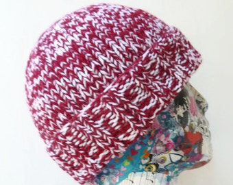 Men's Hand Knitted Beanie Hat, Men's Knit Watchmans Cap, Red White Acrylic Chunky Hat, Vegan Friendly Beanie, ClickClackKnits