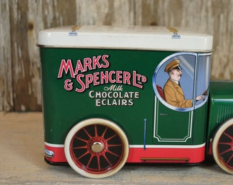 Tin Car marks and Spencer reproduction delivery van  great graphics, for display, Toy childrens toy reproduction antique vintage toy tin