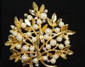 Pearl Tree, Gold Tree, Gold Leaf, Pearl Leaf,DIY buckle, Leaf Brooch, Tree Brooch  - Nothing at back/Pin back