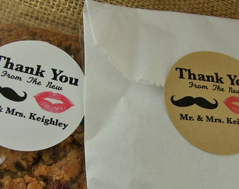 Candy Buffet or Favor Bags - 20 Bags With Personalized New Mr and Mrs Mustache and Lips Sticker Labels - Your Choice of Bags
