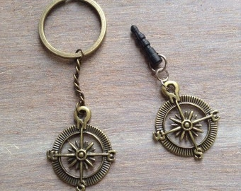 Brass compass key chain, compass anti dust plug for cell phone.