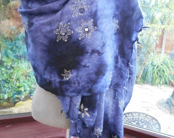 lovely large soft hand dip dyed with mirrored embroidery boho beach wrap or large scarf