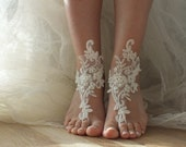 ivory Beach wedding barefoot sandals lace barefoot sandals, lace sandals,  beach shoes, bridesmaid gifts